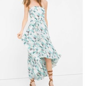 WHBM PRINTED HIGH-LOW FIT-AND-FLARE DRESS size 00